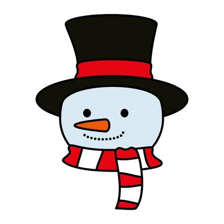 cute snowman head christmas character vector illustration design Illustration