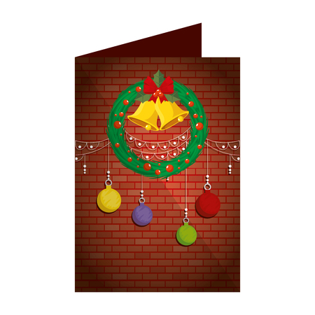 christmas card with bells in wreath vector illustration design Illustration