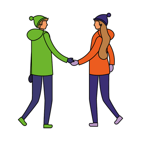 couple holding hands with winter clothes vector illustration