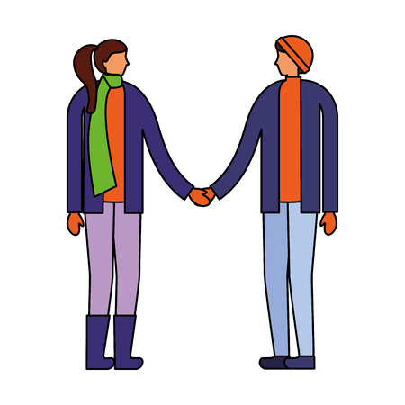 couple holding hands with winter clothes vector illustration Stock Vector - 111368768