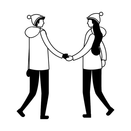 couple holding hands with winter clothes vector illustration Banque d'images - 111372350