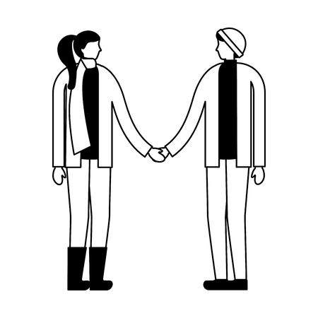 couple holding hands with winter clothes vector illustration Stock fotó - 111372351