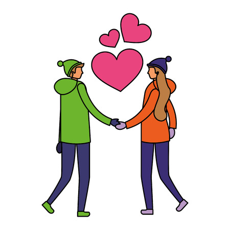 couple holding hands romantic love vector illustration Фото со стока - 111372352