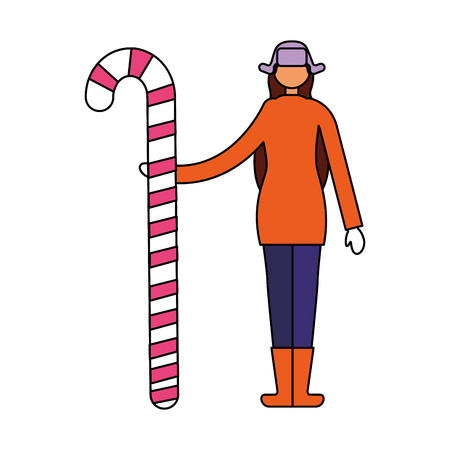 woman in winter clothes holding candy cane vector illustration