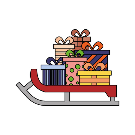 sled christmas gifts winter on white background vector illustration