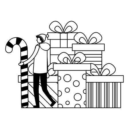 Hombre que sostiene el bastón de caramelo y la pila de cajas de regalo ilustración vectorial
