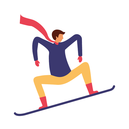 man with snowboard in the winter season vector illustration Ilustração