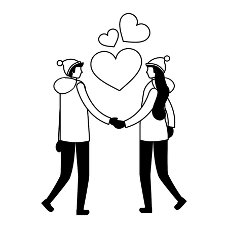 couple holding hands romantic love vector illustration