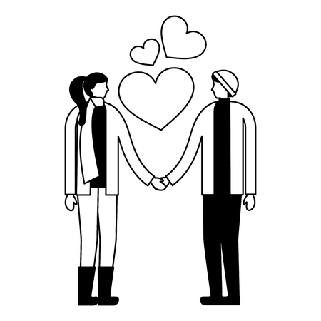 couple holding hands romantic love vector illustration Фото со стока - 111372299