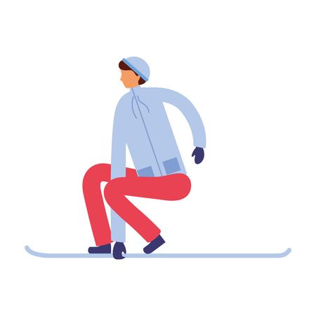 man with ski in the winter season vector illustration