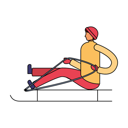 man sitting on sled winter season vector illustration