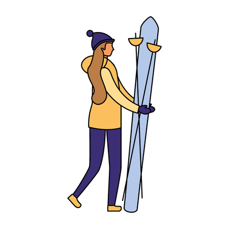 woman skiing in the winter season vector illustration Illustration