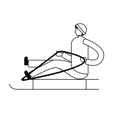 man sitting on sled winter season vector illustration