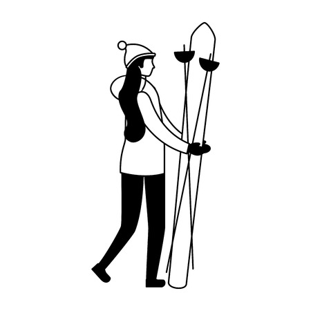 woman skiing in the winter season vector illustration Ilustração