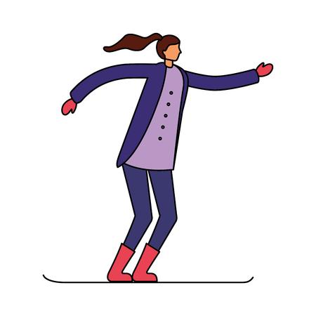woman skiing in the winter season vector illustration Illustration