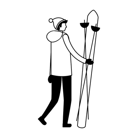 man with ski in the winter season vector illustration