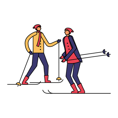 two men practicing ski in the winter season vector illustration