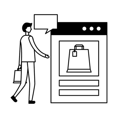 man with bank card website bag online shopping vector illustration Illustration