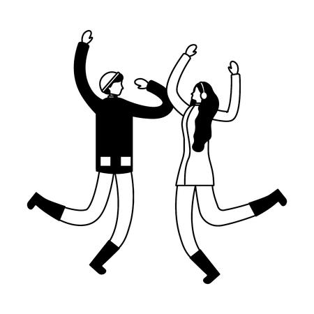 happy couple jumping winter season vector illustration