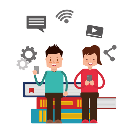 couple with mobile and books social media vector illustration