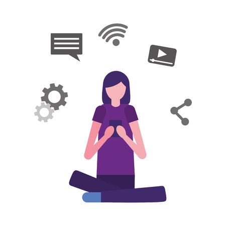 woman using mobile social media vector illustration Illustration