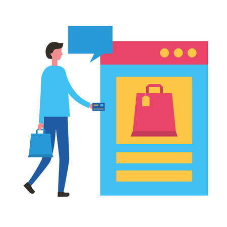 man with bank card website bag online shopping vector illustration Çizim