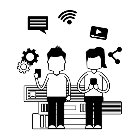 couple with mobile and books social media vector illustration monochrome