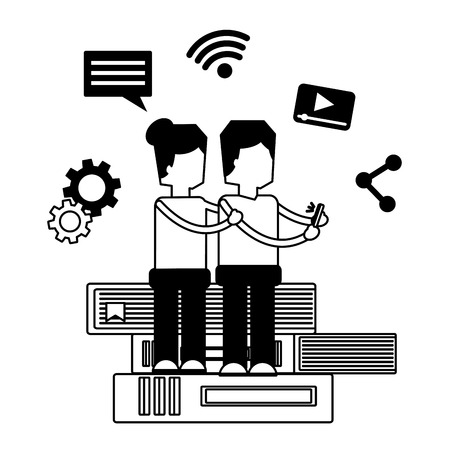 couple with mobile and books social media vector illustration monochrome Stock Vector - 111372907