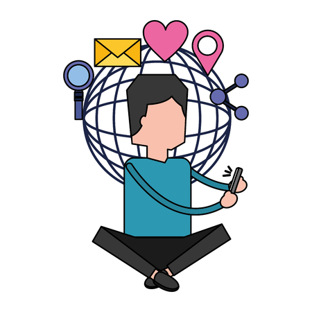 man using mobile social media vector illustration