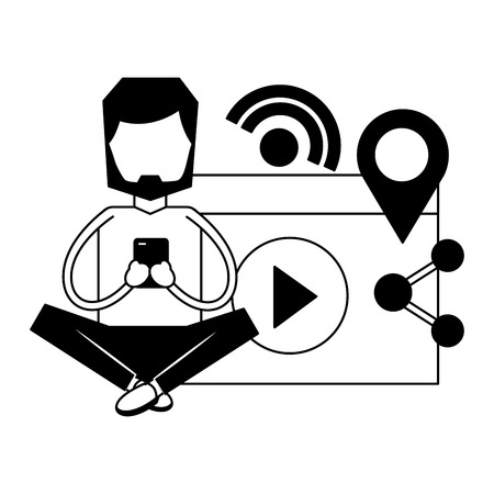 man using mobile social media vector illustration monochrome