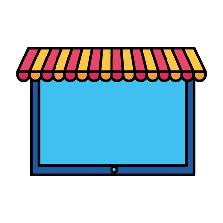 tablet computer market online shopping vector illustration Foto de archivo - 111372874
