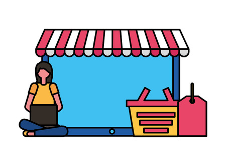 woman with mobile basket and tag price online shopping vector illustration