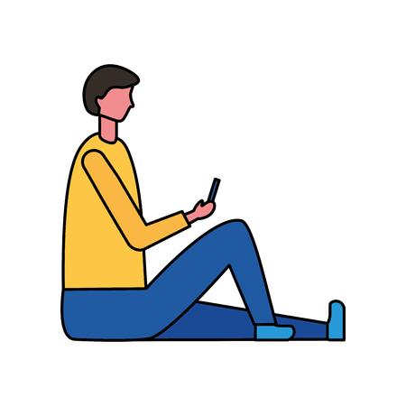 man sitting using mobile digital vector illustration