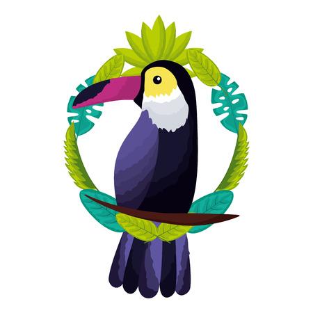 exotic toucan bird leaves tropical vector illustration Illustration