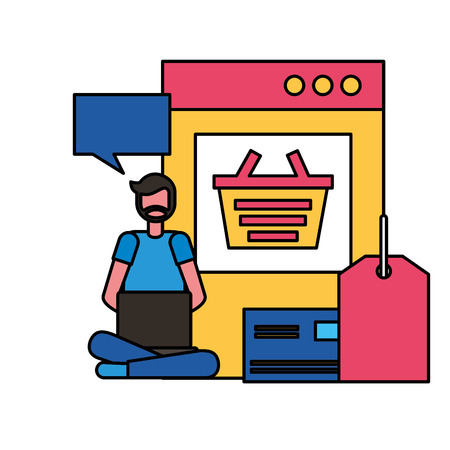 man with laptop bank card online shopping vector illustration