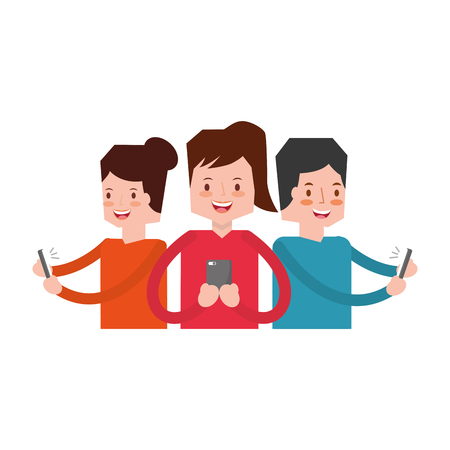 people group using mobile social media vector illustration