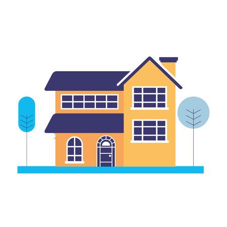 maison avec des arbres sur fond blanc vector illustration