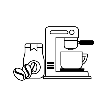 coffee maker machine cup jar and seeds vector illustration Stock Illustratie