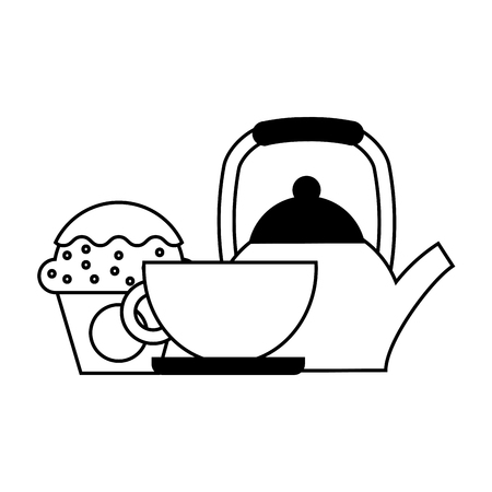coffee maker cup and cupcake vector illustration