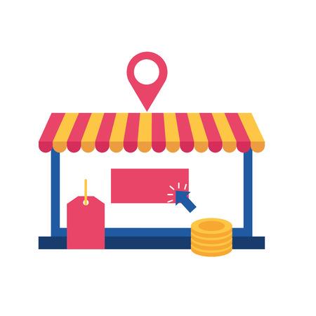 online shopping bag money store vector illustration Illustration