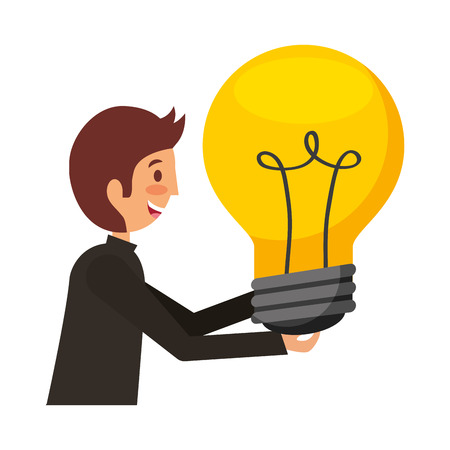 businessman with big bulb idea creativity vector illustration