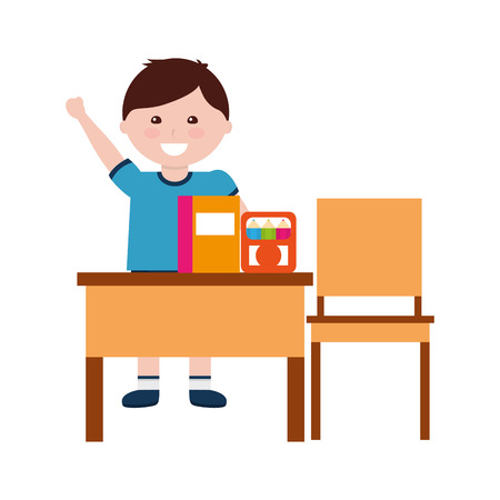 school boy penclis notebook with desk and chair vector illustration