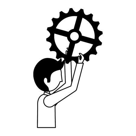 businessman holding gear solution idea vector illustration