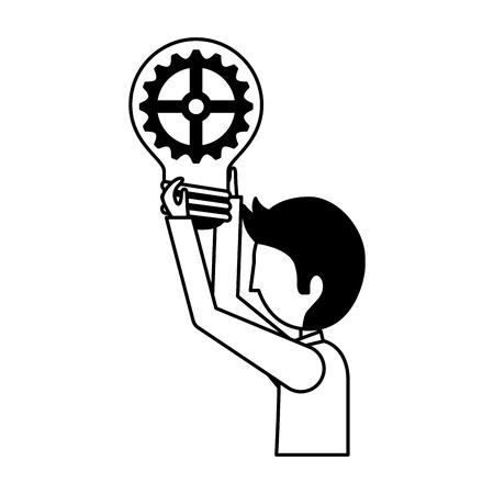 businessman with bulb idea gear vector illustration