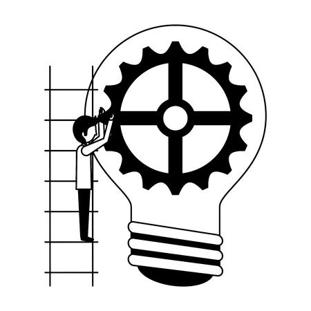 businessman climbing stairs with bulb gear idea vector illustration