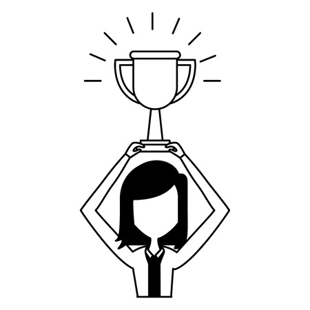 business woman with gold trophy vector illustration Illustration