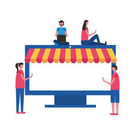 people using mobile computer store online buying vector illustration
