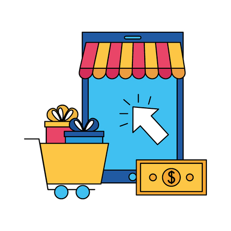 mobile cart gifts and bank card online buying vector illustration