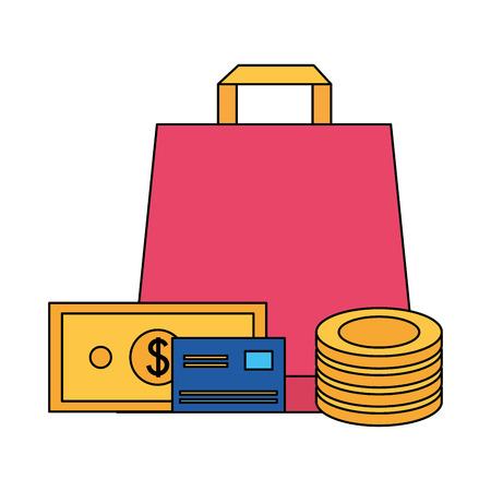shopping bag bank card money online buying ecommerce vector illustration