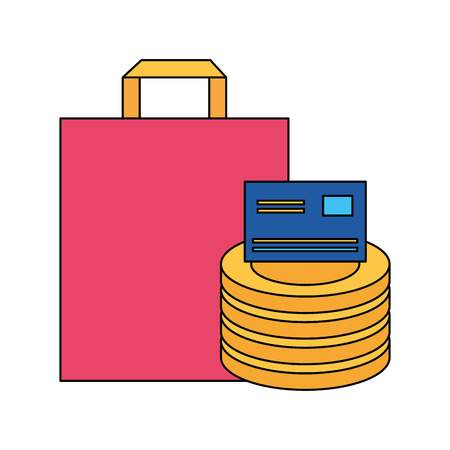 bag and coins bank card online buying ecommerce vector illustration